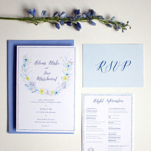 Yellow And Blue Floral Wedding Invite Sample - invitations