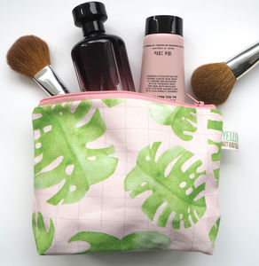 Small Handmade Monstera Pink Grid Make Up Bag - make-up