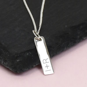 Personalised Couples Initial Bar Silver Necklace