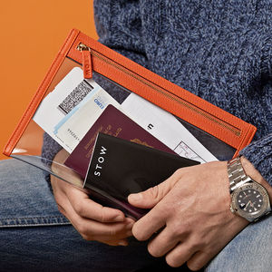 Personalised Clear Leather Travel Wallet