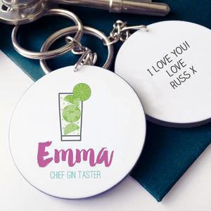 Personalised Chief Gin Taster Keyring