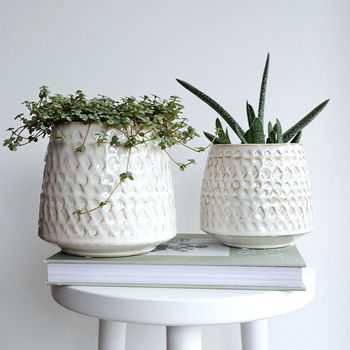 Off White Stoneware Plant Pot With Pattern Detail