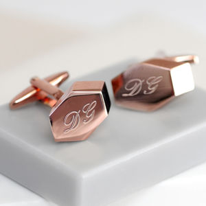 Personalised Rose Gold Geometric Cufflinks - valentine's gifts for him