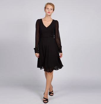 V Neck Silk Chiffon Black Dress With Long Sleeves