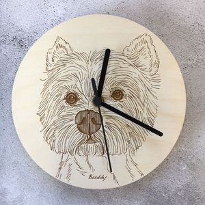 Laser Etched Pet Portrait Wall Clocks - clocks