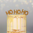 Pack Of Three 'Ho Ho Ho' Gold Glitter Food Picks