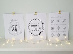 Set Of Three Christmas Prints With Gold Clips - christmas home accessories