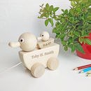 Personalised Wooden Duck And Duckling Pull Along Toy
