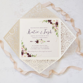 Bella Intricate Laser Cut Wedding Invitation
