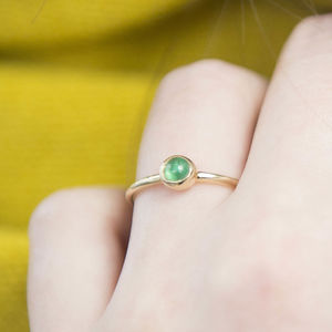 Simple Gold Emerald Ring - gold