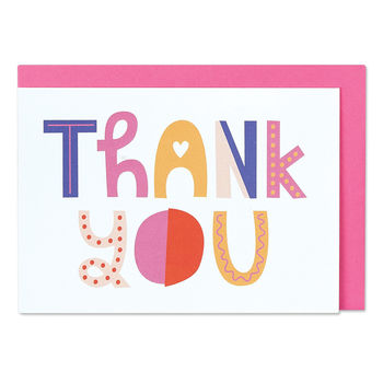 'Thank You' Typographic Cards X Six