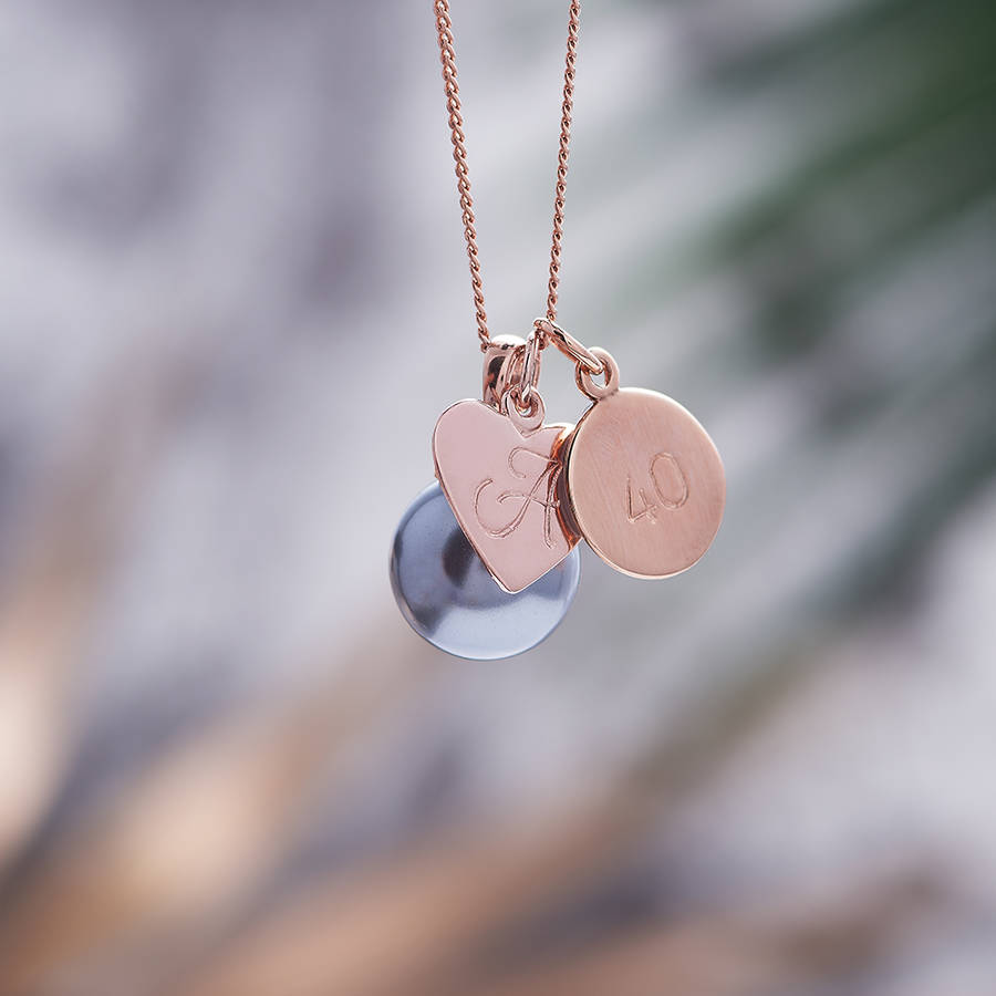 Rose gold pearl necklace with monogram charm by claudette worters rose gold pearl necklace with monogram charm soft grey pearl aloadofball Gallery