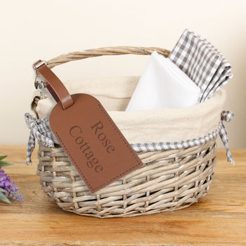 Personalised Wicker Basket With Gingham Lining