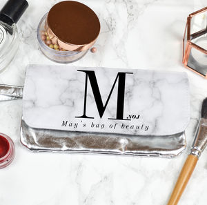 Personalised Marble Make Up Bag - make-up bags