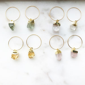 Mini Raw Cut Gemstone Crystal Hoop Earrings