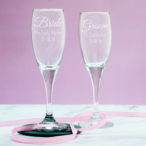 Personalised Bride Or Groom Champagne Flute - drink & barware