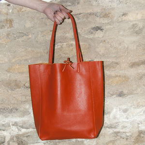 Colourful Soft Italian Leather Casual Tote Shopper - womens