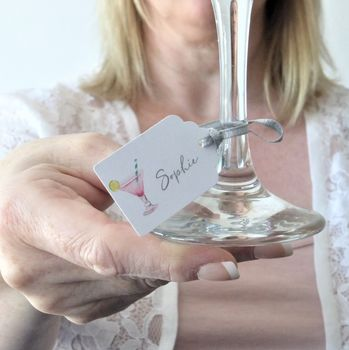 Cocktail Personalised Wine Glass Tags