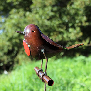 Robin On Rod Handmade Recycled Metal Garden Sculpture - art & decorations