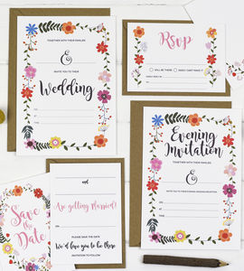 Diy Floral Wedding Invitations - save the date cards