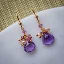 Amethyst, Pearls And Rose Quartz Earrings