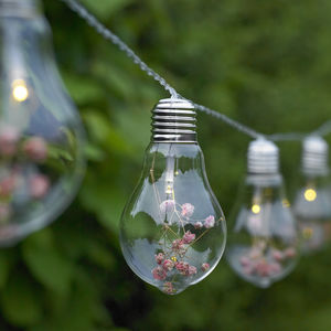Glass Bulb And Flower String Lights - lighting