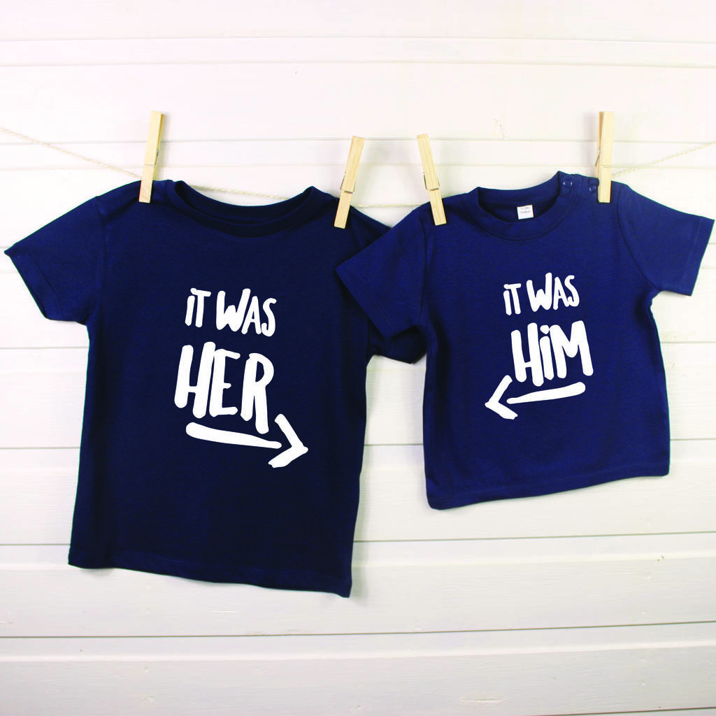 It Was Him! / It Was Her! Sibling Rivalry T Shirt Set