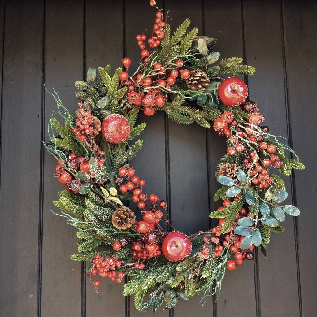 Frosted Red Berry And Fruit Christmas Door Wreath