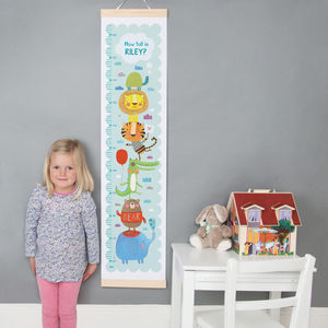 Personalised Animal Height Chart - children's room