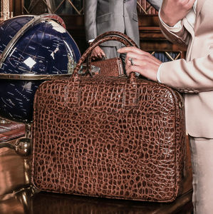 Luxury Leather Soft Briefcase 'Calvino Croco' - laptop bags & cases