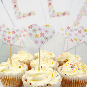 Set Of 12 Floral Patterned Heart Cupcake Toppers
