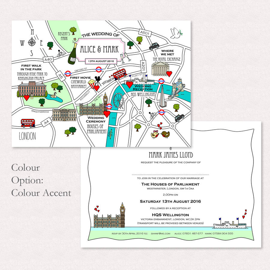 Wedding Invitations With Maps: Wedding Or Party Illustrated Map Invitation By Cute Maps