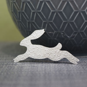 Sterling Silver Watercolour Small Hare Brooch
