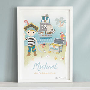 Little Pirate Personalised Print - children's pictures & prints