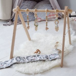 Wooden Baby Activity Gym With Hanging Toys