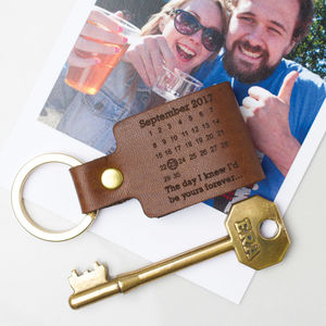 Personalised Never Forget Date Leather Keyring - 3rd anniversary: leather