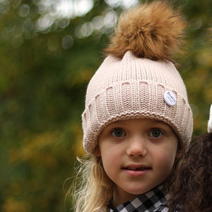 Cream Beanie Hat With Removable Faux Fur Pom Pom