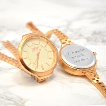Personalised Ladies Rose Gold Watch With Metal Strap