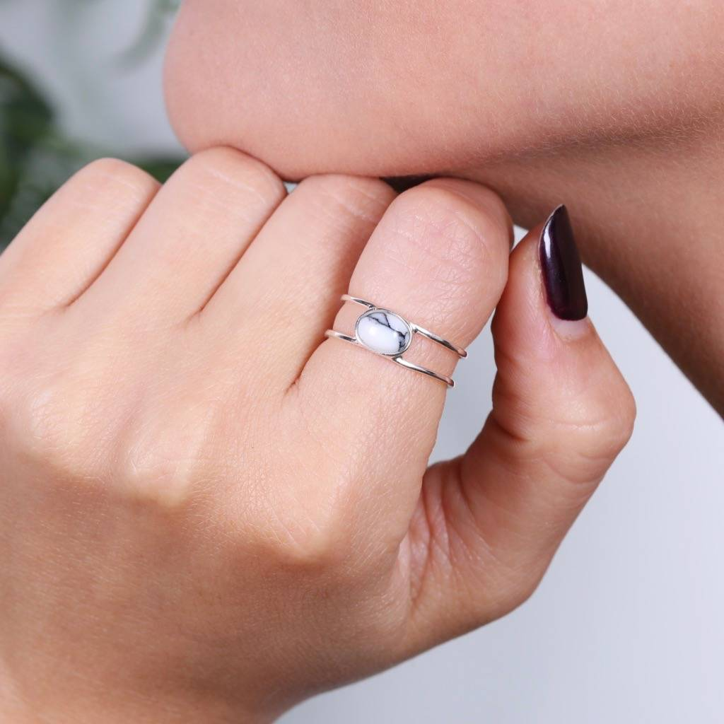 sterling silver oval marble ring by lisa angel | notonthehighstreet.com