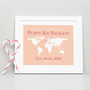 Personalised 'Welcome To The World' Map Print - children's pictures & paintings