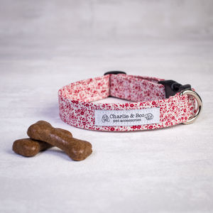 Dog Collar For Girl Or Boy Dogs In Red Floral - pet collars