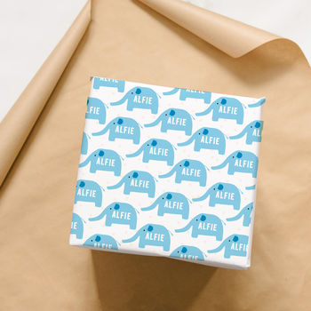 Personalised New Baby Elephant Wrapping Paper