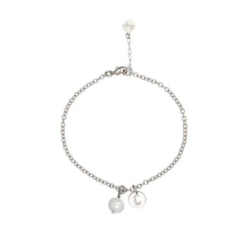Silver Initial Bracelet With One Disc And Birthstone