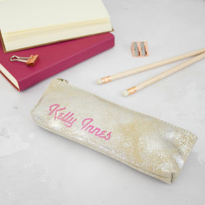 Teachers Personalised Pencil Case Silver, Gold Leather