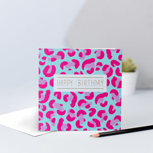 Animal Print Birthday Card In Pink And Blue