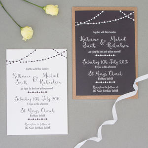 Fairy Light Wedding Invitation Full Sample Set - menu cards