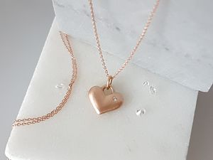 9ct Rose Gold And Diamond Love Heart Necklace - bridal necklaces