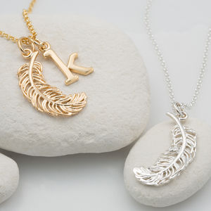 Personalised Large Feather Necklace - inspired by nature