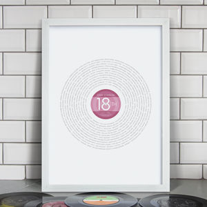 Personalised 18th Birthday 'Year 2001' Record Print - for him