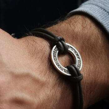 Men's Personalised Silver Washer Bracelet